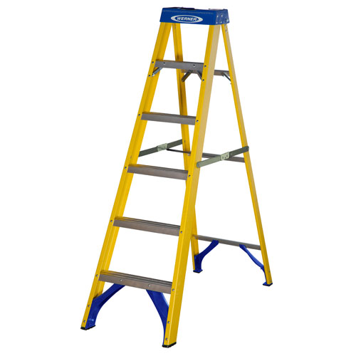 FIBREGLASS SWINGBACK STEPLADDER TRADE 6 TREAD (71606)