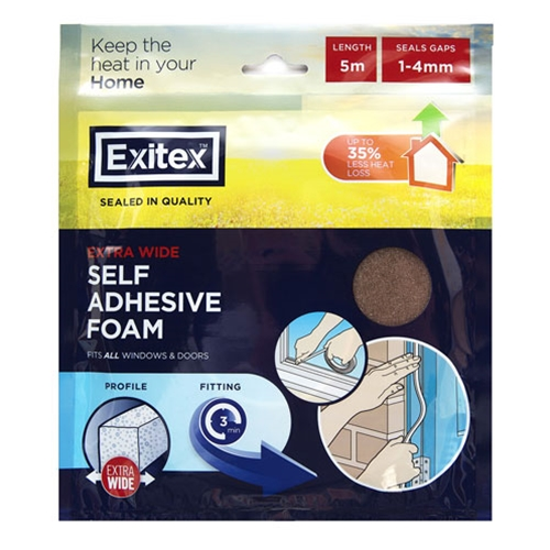 EXITEX SELF ADHESIVE FOAM EXTRA WIDE WHITE 5M