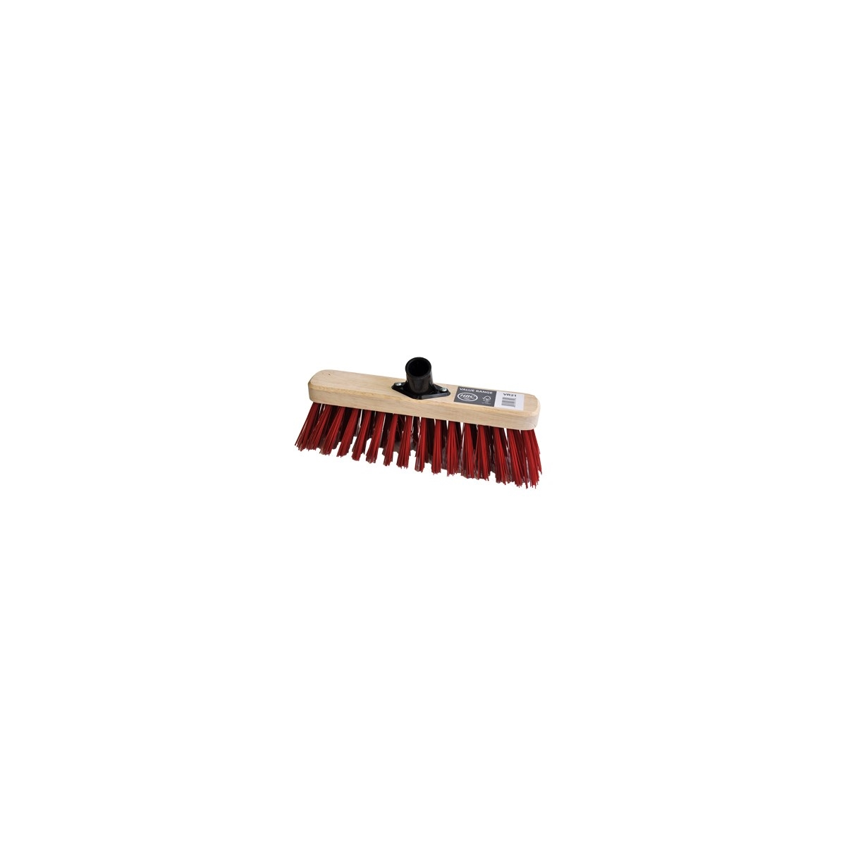 290MM SWEEPING BROOM RED PVC FILL C/W PLASTIC SOCKET FITTED - STIFF