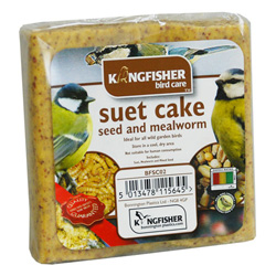 KINGFISHER SUET CAKE WITH SEED & MEALWORMS 300G (BFSC02)