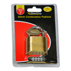 STERLING 50MM BRASS COMBINATION PADLOCK - 4 DIAL (CPL151)