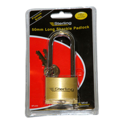 STERLING 50MM HEAVY BRASS PADLOCK LONG SHACKLE (PHBPL252)