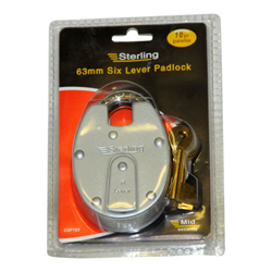 STERLING 63MM 6 LEVER OLD ENGLISH PADLOCK (CSP163)