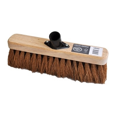 290MM SWEEPING BROOM NATURAL COCO FILL C/W PLASTIC SOCKET FITTED - SOFT